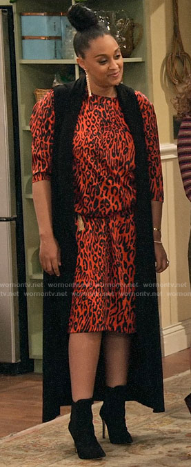 Cocoa's red leopard print midi dress on Family Reunion