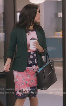 Shannon's pink floral print dress on Kims Convenience
