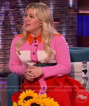 Kelly's pink colorblock shirtdress on The Kelly Clarkson Show