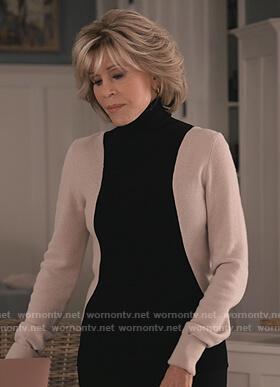 Grace's colorblock turtleneck sweater on Grace and Frankie