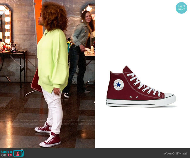 Converse Chuck Taylor High Tops in Maroon worn by Kourtney (Dara Renee) on High School Musical The Musical The Series