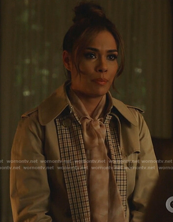 Cristal's beige checked trench coat on Dynasty