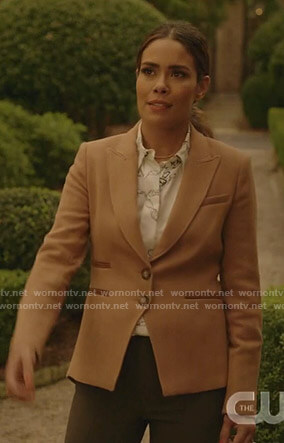 Cristal's whtie chain print blouse and camel blazer on Dynasty
