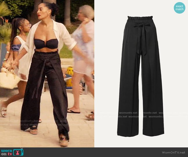 Cult Gaia Naomi tie-front satin wide-leg pants worn by Rainbow Johnson (Tracee Ellis Ross) on Blackish
