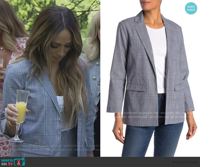 Wheeler Plaid Boyfriend Blazer by CupCakes and Cashmere worn by Melissa Gorga  on The Real Housewives of New Jersey
