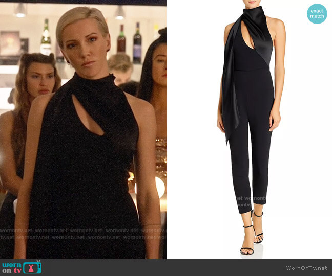 Cushnie Cropped Fitted Wraparound Jumpsuit worn by Laurel Lance (Katie Cassidy) on Arrow