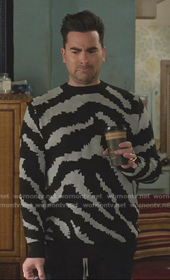 David's black and grey zebra sweater on Schitts Creek
