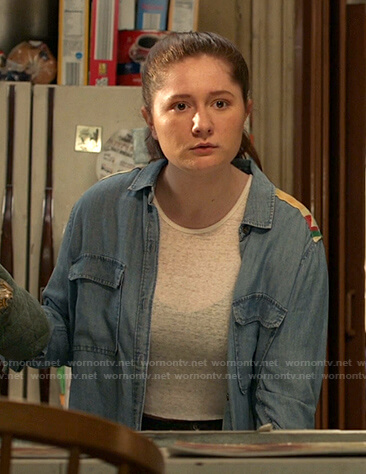 Debbie's embroidered-shoulder chambray shirt on Shameless