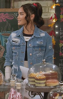 Alexa's distressed denim jacket on Alexa & Katie