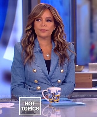 Sunny's denim double breasted belted blazer on The View