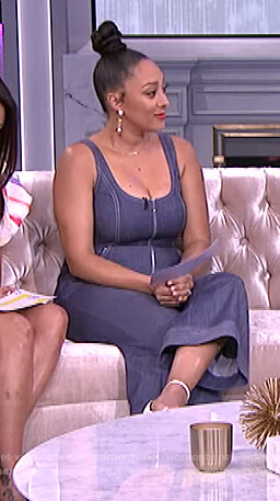 Tamera's sleeveless denim jumpsuit on The Real