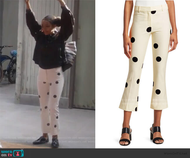 Polka-Dot Cropped Flare Pants by Derek Lam worn by Zoey Johnson (Yara Shahidi) on Grown-ish