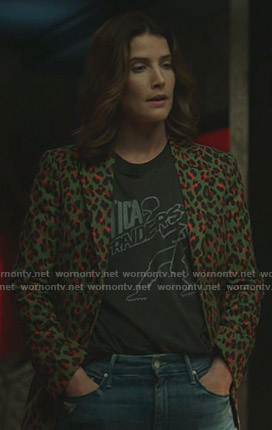 Dex's green leopard print blazer on Stumptown