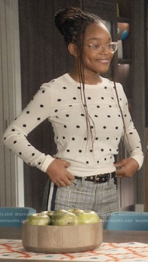 Diane's white polka dot sweater and plaid pants on Black-ish
