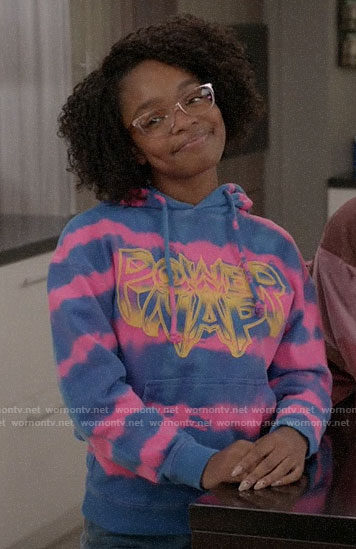 Diane's tie dye POWER NAP hoodie on Black-ish