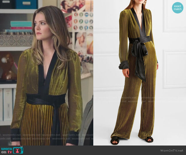 Satin-Trimmed Striped Velvet Jumpsuit by Diane von Furstenberg worn by Sutton (Meghann Fahy) on The Bold Type