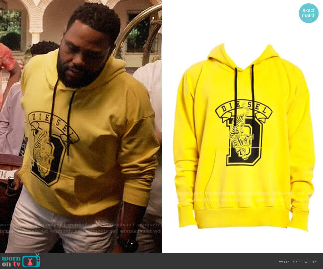 Diesel Alby Logo Varsity Hoodie worn by Andre Johnson (Anthony Anderson) on Blackish