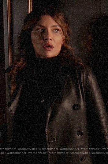 Dinah's leather trench coat on Arrow