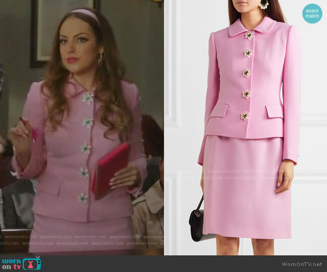 Embellished Wool-Crepe Blazer and Mini Skirt by Embellished Wool-Crepe Blazer by Dolce & Gabbana worn by Fallon Carrington (Elizabeth Gillies) on Dynasty