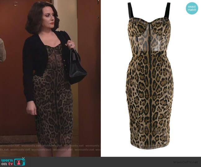 Leopard Print Fitted Dress by Dolce & Gabbana worn by Karen Walker (Megan Mullally) on Will & Grace
