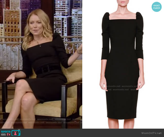 Square-Neck Dress by Dolce & Gabbana worn by Kelly Ripa  on Live with Kelly & Ryan