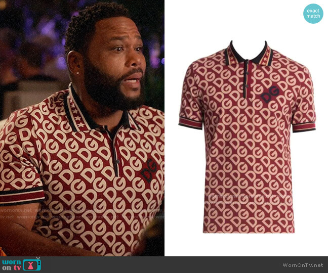 Dolce & Gabbana Logo Cotton Polo Shirt worn by Andre Johnson (Anthony Anderson) on Blackish