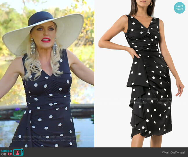 Sleeveless Polka Dot Ruffle Dress by Dolce & Gabbana worn by Alexis Carrington (Elaine Hendrix) on Dynasty