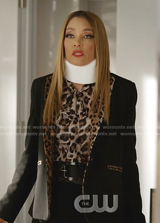 Dominique's leopard print blouse and jacket on Dynasty