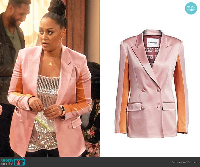 Each x Other Colorblock Satin Blazer worn by Cocoa McKellan (Tia Mowry-Hardrict) on Family Reunion