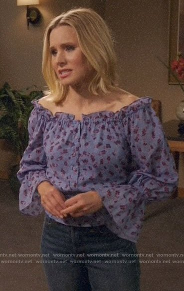 Eleanor's blue floral off-shoulder top on The Good Place