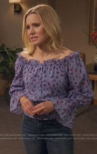 Tahani's floral off-shoulder dress on The Good Place