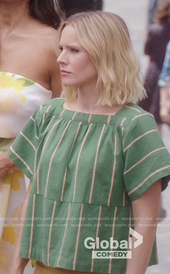 Eleanor's green striped boxy top on The Good Place