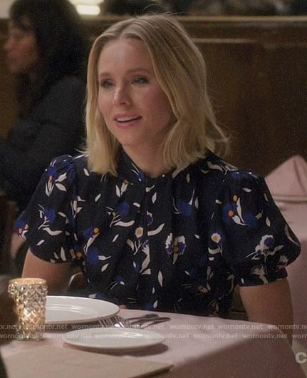 Eleanor's blue floral short sleeve dress on The Good Place
