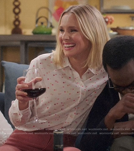 Eleanor's star print button down shirt on The Good Place
