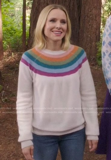 Diane's rainbow stripe sweater on The Good Place