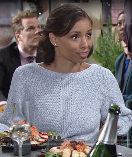 Elena's blue sweater on The Young and the Restless