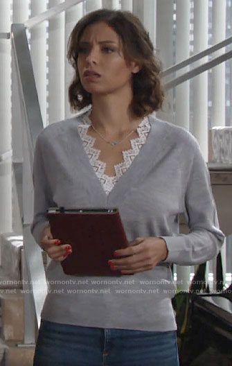 Elena's grey lace-trim v-neck sweater on The Young and the Restless