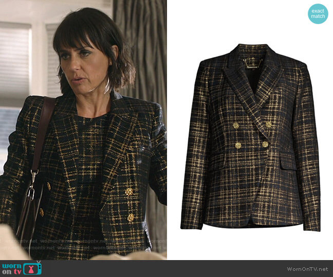 Jezebel Metallic Plaid Blazer by Elie Tahari worn by Constance Zimmer on Shameless
