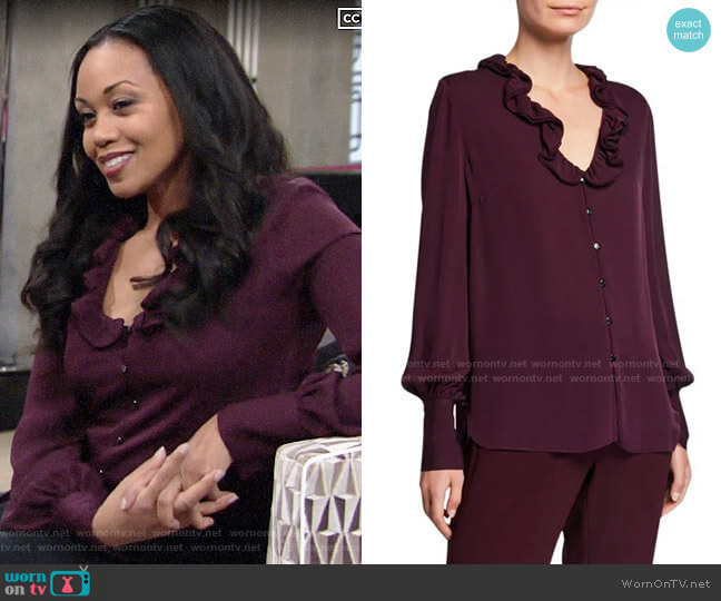 Elie Tahari Azra Blouse worn by Amanda Sinclair (Mishael Morgan) on The Young & the Restless