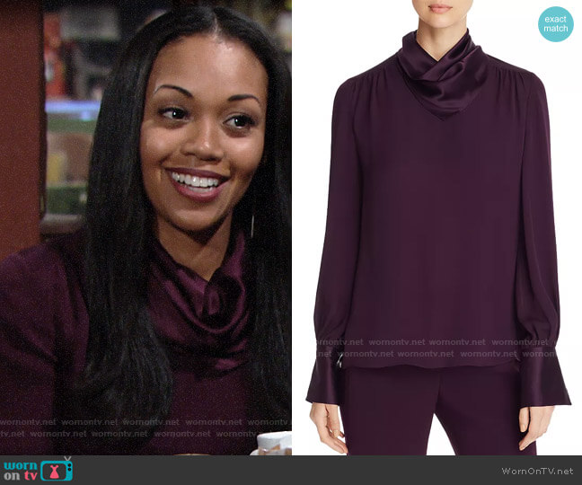 Elie Tahari Aubergine Nathalie Blouse worn by Amanda Sinclair (Mishael Morgan) on The Young & the Restless