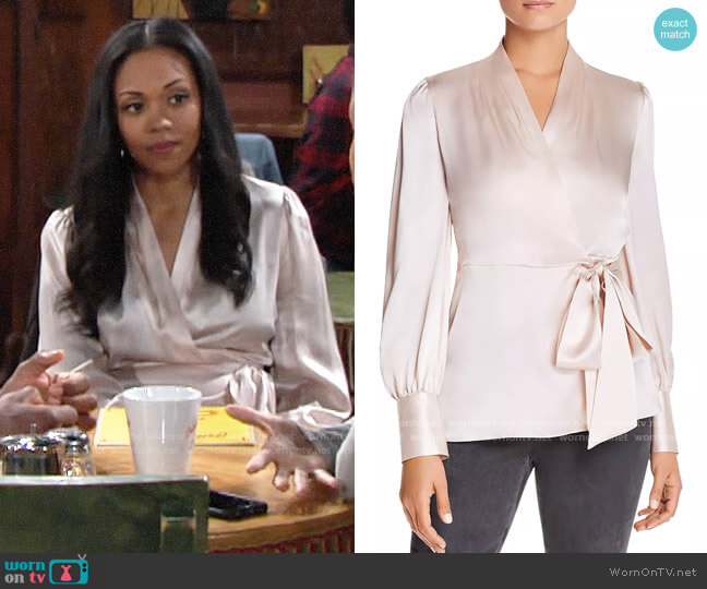 Elie Tahari Shay Blouse worn by Amanda Sinclair (Mishael Morgan) on The Young & the Restless