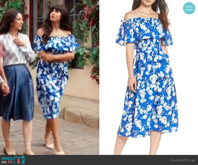 Eliza J Floral Off The Shoulder Midi Dress worn by Tahani Al-Jamil (Jameela Jamil) on The Good Place