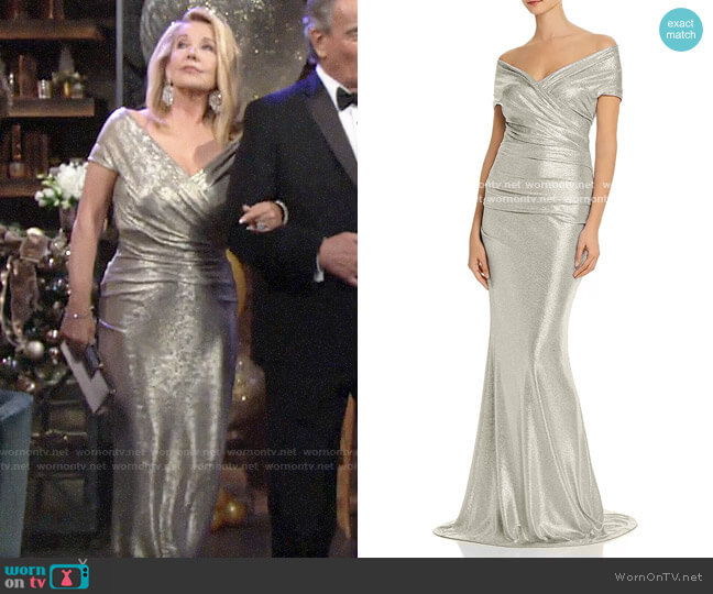 Eliza J Metallic Off-the-Shoulder Gown worn by Nikki Reed Newman (Melody Thomas-Scott) on The Young & the Restless