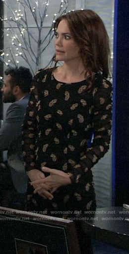 Elizabeth's paisley print long sleeve mesh dress on General Hospital