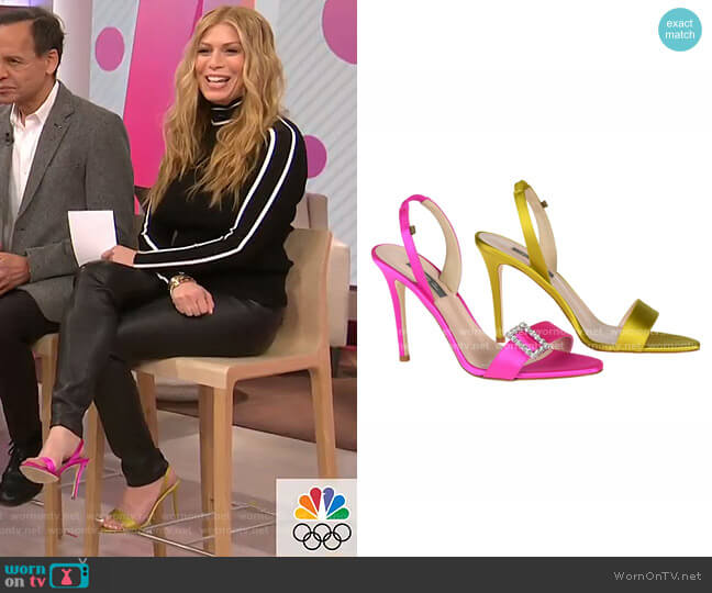 Yellow and Pink Satin Mismatched Sandals by SJP by Sarah Jessica Parker worn by Jill Martin  on Today