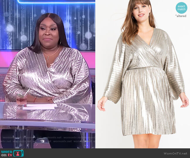 Pleated Metallic Wrap Dress by Eloquii worn by Loni Love  on The Real