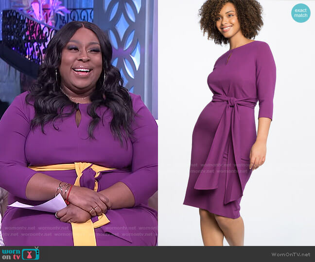 Tie Waist Dress with Keyhole Neckline by Eloquii worn by Loni Love  on The Real