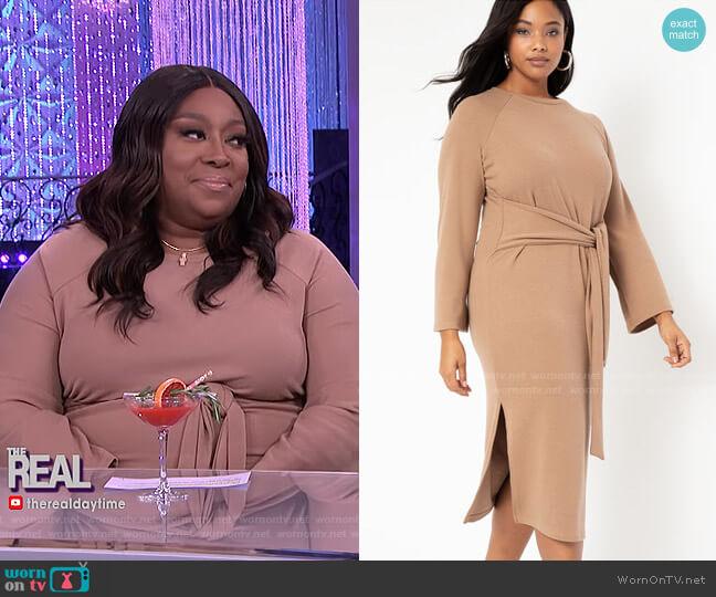 Tie Waist Knit Dress by Eloquii worn by Loni Love  on The Real