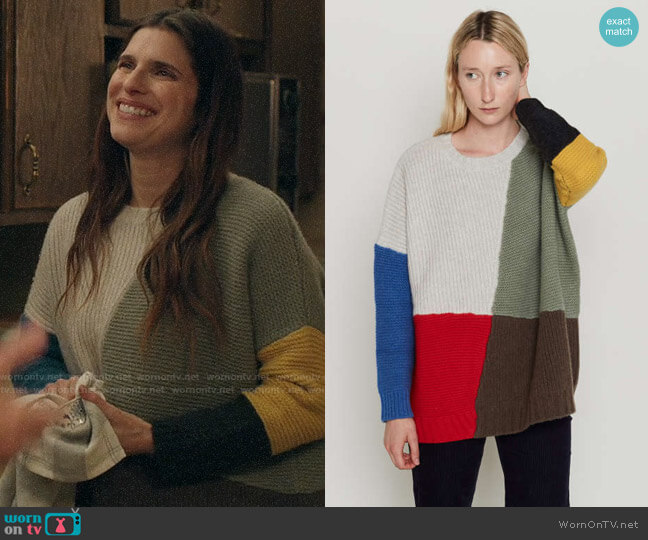 Entireworld Patchwork Adams Sweater worn by Rio (Lake Bell) on Bless This Mess