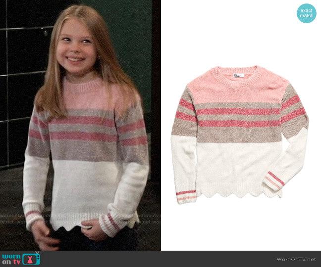 Epic Threads Big Girls Striped Chenille Sweater worn by Charlotte Cassadine (Scarlett Fernandez) on General Hospital